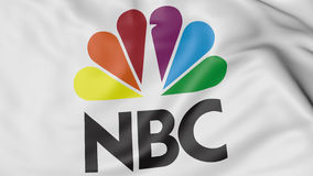Close up of waving flag with National Broadcasting Company NBC logo, 3D rendering Stock Photo