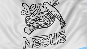 Close up of waving flag with Nestle logo, seamless loop, blue background. Editorial animation. 4K ProRes, alpha. Close up of waving flag with Nestle logo stock footage