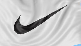 Close up of waving flag with Nike logo, Swoosh. Seamless loop, blue background. Editorial animation. 4K ProRes, alpha stock footage