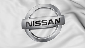 Close up of waving flag with Nissan logo, 3D rendering. Close up of waving flag with Nissan logo, United States Stock Photos