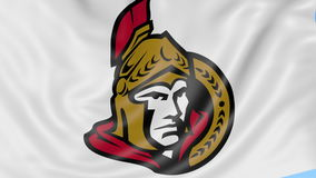 Close-up of waving flag with Ottawa Senators NHL hockey team logo, seamless loop, blue background. Editorial animation stock video