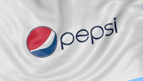 Close up of waving flag with Pepsi logo, seamless loop, blue background. Editorial animation. 4K ProRes, alpha stock video footage