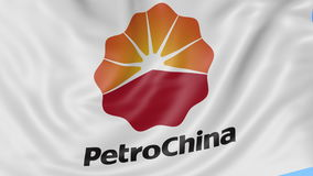 Close up of waving flag with PetroChina logo, seamless loop, blue background. Editorial animation. 4K ProRes, alpha. Close up of waving flag with PetroChina logo stock footage