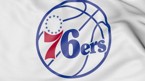 Close-up of waving flag with Philadelphia 76ers NBA basketball team logo, 3D rendering Stock Photography