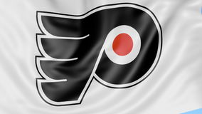 Close-up of waving flag with Philadelphia Flyers NHL hockey team logo, seamless loop, blue background. Editorial stock video footage