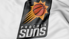Close-up of waving flag with Phoenix Suns NBA basketball team logo, 3D rendering Royalty Free Stock Images