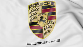 Close-up of waving flag with Porsche logo, editorial 3D rendering Royalty Free Stock Photography