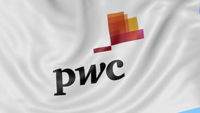 Close up of waving flag with PricewaterhouseCoopers PwC logo, seamless loop, blue background. Editorial animation. 4K stock footage