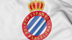 Close-up of waving flag with RCD Espanyol football club logo, 3D rendering. Close-up of waving flag with RCD Espanyol football club logo, 3D France Stock Images