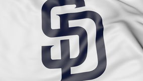 Close-up of waving flag with San Diego Padres MLB baseball team logo, 3D rendering Royalty Free Stock Photos