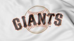Close-up of waving flag with San Francisco Giants MLB baseball team logo, 3D rendering Stock Image