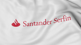 Close up of waving flag with Santander Serfin logo, 3D rendering Stock Image