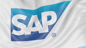 Close-up of waving flag with SAP SE logo, seamless loop, blue background, editorial animation. 4K ProRes