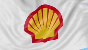 Close up of waving flag with Shell Oil Company logo, seamless loop, blue background. Editorial animation. 4K ProRes.  stock footage