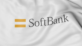 Close up of waving flag with SoftBank logo, 3D rendering Royalty Free Stock Image