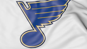 Close-up of waving flag with St. Louis Blues NHL hockey team logo, 3D rendering. Close-up of waving flag with St. Louis Blues NHL hockey team logo, 3D United Stock Photos