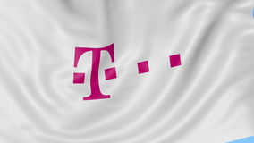 Close up of waving flag with T-Mobile logo, seamless loop, blue background. Editorial animation. 4K ProRes, alpha. Close up of waving flag with T-Mobile logo stock video