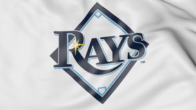 Close-up of waving flag with Tampa Bay Rays MLB baseball team logo, 3D rendering Stock Images