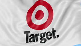 Close up of waving flag with Target Corporation logo, seamless loop, blue background. Editorial animation. 4K ProRes.  stock footage