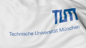 Close-up of waving flag with Technical University of Munich emblem 3D rendering Stock Image