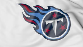 Close-up of waving flag with Tennessee Titans NFL American football team logo, 3D rendering Royalty Free Stock Photography