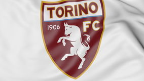 Close-up of waving flag with Torino FC football club logo, 3D rendering Royalty Free Stock Photos