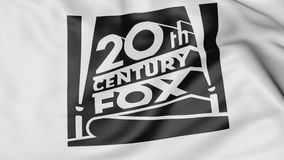 Close up of waving flag with Twentieth Century Fox Film Corporation logo, 3D rendering. Close up of waving flag with Twentieth Century Fox Film Corporation logo Stock Image