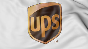Close up of waving flag with United Parcel Service UPS logo, 3D rendering Stock Photo