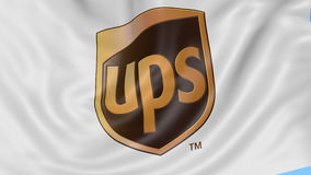 Close up of waving flag with United Parcel Service UPS logo, seamless loop, blue background. Editorial animation. 4K stock footage