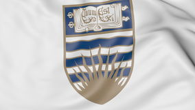 Close-up of waving flag with University of British Columbia emblem 3D rendering. Close-up of waving flag with University of British Columbia emblem 3D Stock Images