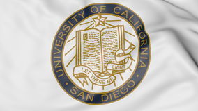 Close-up of waving flag with University of California San Diego emblem 3D rendering Royalty Free Stock Photography