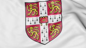 Close-up of waving flag with University of Cambridge emblem 3D rendering Royalty Free Stock Photos