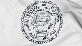 Close-up of waving flag with University of Illinois Urbana Champaign emblem 3D rendering Royalty Free Stock Photography