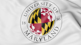 Close-up of waving flag with University of Maryland College Park emblem 3D rendering Stock Photography