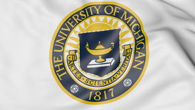 Close-up of waving flag with University of Michigan emblem 3D rendering royalty free illustration