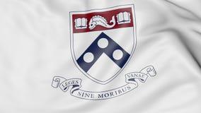 Close-up of waving flag with University of Pennsylvania emblem 3D rendering Stock Photos