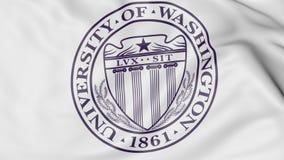 Close-up of waving flag with University of Washington Seattle emblem 3D rendering Royalty Free Stock Image