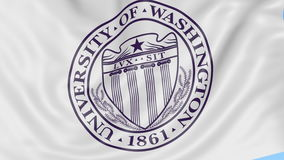 Close-up of waving flag with University of Washington Seattle emblem, seamless loop, blue background. Editorial stock video