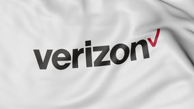 Close up of waving flag with Verizon Communications logo, 3D rendering Royalty Free Stock Image