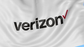 Close up of waving flag with Verizon Communications logo, seamless loop, blue background. Editorial animation. 4K ProRes. Close up of waving flag with Verizon stock video