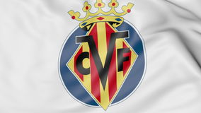 Close-up of waving flag with Villarreal football club logo, 3D rendering Royalty Free Stock Images