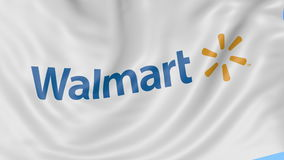 Close up of waving flag with Walmart logo, seamless loop, blue background. Editorial animation. 4K ProRes, alpha stock footage