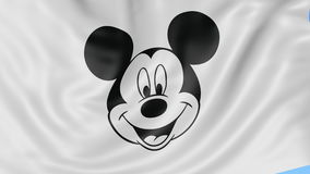 Close up of waving flag with Walt Disney Mickey Mouse logo, seamless loop, blue background. Editorial animation. 4K