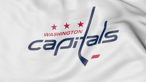 Close-up of waving flag with Washington Capitals NHL hockey team logo, 3D rendering Royalty Free Stock Images