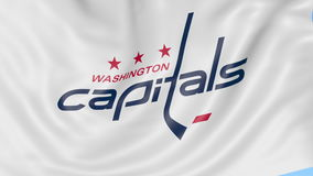 Close-up of waving flag with Washington Capitals NHL hockey team logo, seamless loop, blue background. Editorial. Animation. 4K clip stock footage