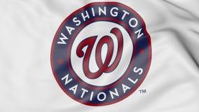 Close-up of waving flag with Washington Nationals MLB baseball team logo, 3D rendering Royalty Free Stock Photos