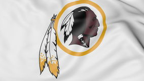 Close-up of waving flag with Washington Redskins NFL American football team logo, 3D rendering Royalty Free Stock Images