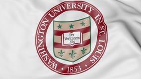 Close-up of waving flag with Washington University emblem 3D rendering Stock Photos