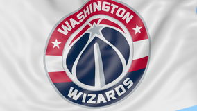 Close-up of waving flag with Washington Wizards NBA basketball team logo, seamless loop, blue background. Editorial. Animation. 4K clip stock footage