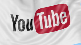 Close-up of waving flag with YouTube logo, seamless loop, blue background, editorial animation. 4K ProRes stock footage